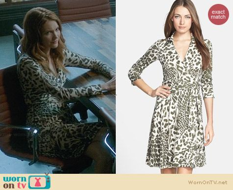 Diane von Furstenberg New Jeanne 2 Dress in Feather Leopard worn by Darby Stanchfield on Scandal