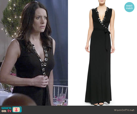 Diane von Furstenberg Orchid Hardware Trim Maxi Dress worn by Paget Brewster on Community