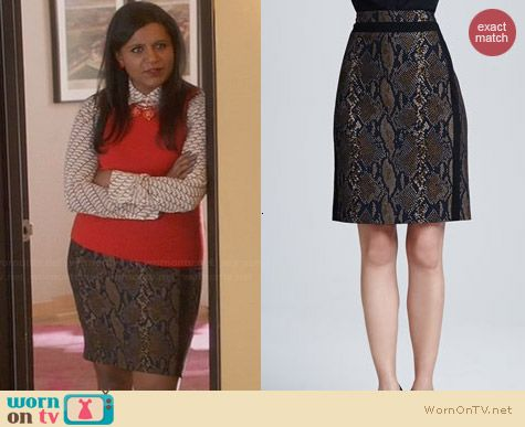 Diane von Furstenberg Marta Python Skirt worn by Mindy Kaling on The Mindy Project