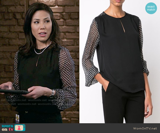 Diane von Furstenberg Nikki Polka Dot Blouse worn by Michaela Conlin on Bones
