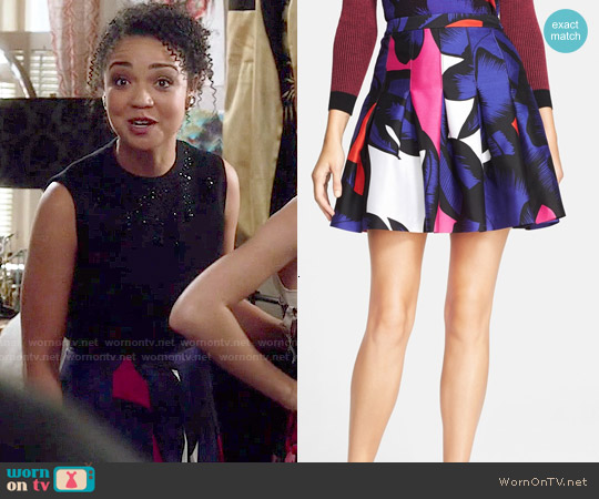 Diane von Furstenberg Gemma Skirt in Poppy Leopard worn by Aisha Dee on Chasing Life