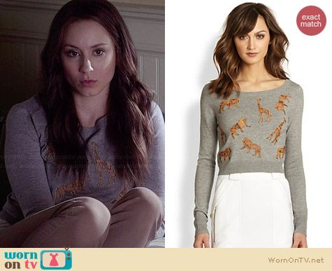 Diane von Furstenberg Praia Leather Animal Applique Sweater worn by Troian Bellisario on PLL