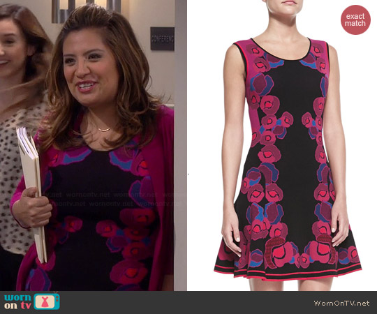 Diane von Furstenberg Rose Gate Cerise Jacquard Fit & Flare Dress worn by Cristela Alonzo on Cristela