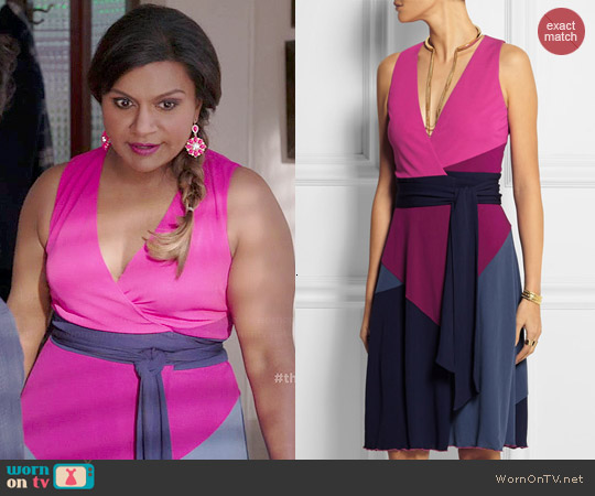 Diane von Furstenberg Sady color-block jersey-crepe wrap dress worn by Mindy Kaling on The Mindy Project
