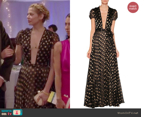 Diane von Furstenberg Star Print Chiffon Gown worn by Analeigh Tipton on Manhattan Love Story