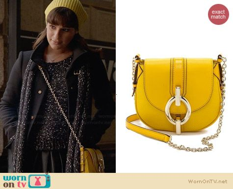 Diane von Furstenberg Sutra Mixed Leather Bag in Canary Yellow worn by Lea Michele on Glee
