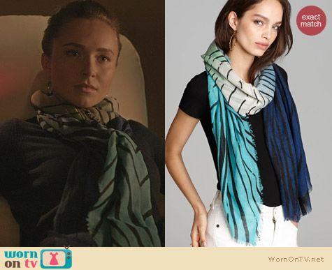 Diane von Furstenberg Tiger Tree Hanovar Scarf in Gradient Teal worn by Hayden Panettiere on Nashville