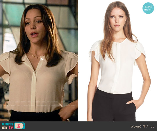 Diane von Furstenberg Toni Petal Sleeve Silk Top worn by Katharine McPhee on Scorpion