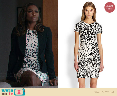 Diane von Furstenberg Zoe Dress in Feather Multi worn by Patina Miller on Madam Secretary