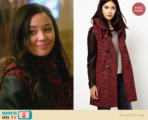 Diesel Animal Print Coat with Leather Sleeves worn by Malese Jow on Star-Crossed