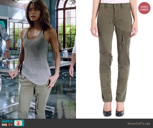 Diesel P Back Pants in Olive Green worn by Grace Parks on Hawaii Five-O