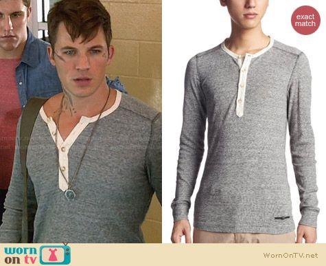 Diesel Yamanto Contrast Henley Shirt worn by Matt Lanter on Star Crossed