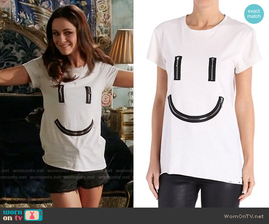 Diesel Zipper Smiley Cotton Tee worn by Alexandra Park on The Royals