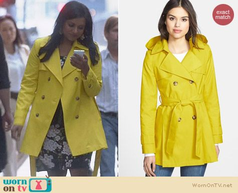 DKNY Abby Coat in Chartreuse worn by Mindy Kaling on The Mindy Project