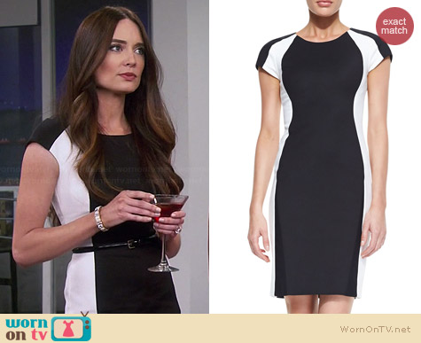 DKNY Colorblock Cap Sleeve Sheath worn by Mallory Jansen on Young & Hungry