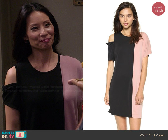 DKNY Short Sleeve Colorblock Dress worn by Lucy Liu on Elementary