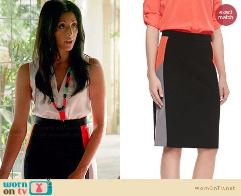 DKNY Colorblock Skirt worn by Reshma Shetty on Royal Pains