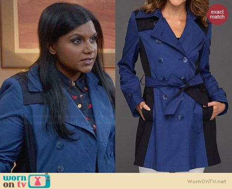 DKNY Colorblock Trench worn by Mindy Kaling on The Mindy Project