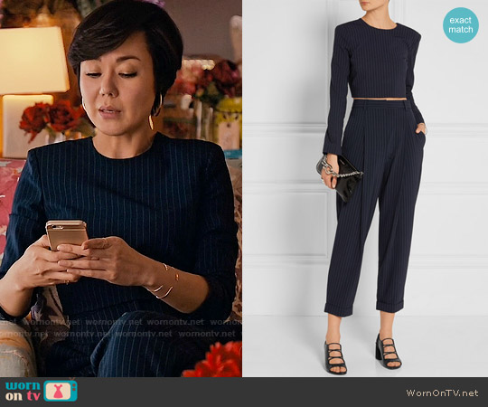 DKNY Pinstriped Stretch Wool Crop Top and Tapered Pants worn by Yunjin Kim on Mistresses