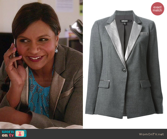 DKNY Metallic Lapel Blazer worn by Mindy Kaling on The Mindy Project