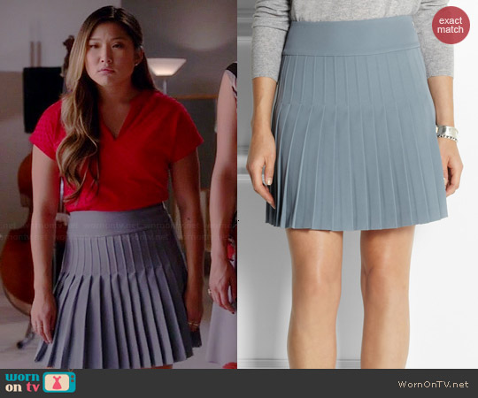 DKNY Pleated Mini Skirt worn by Jenna Ushkowitz on Glee