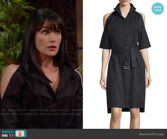 DKNY Poplin Cold-Shoulder Shirtdress worn by Rena Sofer on The Bold & the Beautiful