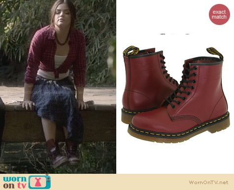 Doc Marten 1460 Boots in Cherry Red Smooth worn by Lucy Hale on PLL
