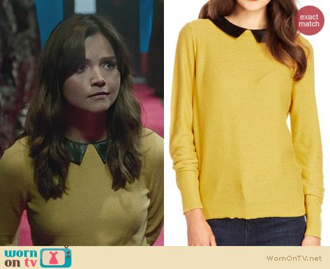 Doctor Who Christmas Fashion: Oasis Faux Leather Collar Jumper worn by Jenna Coleman