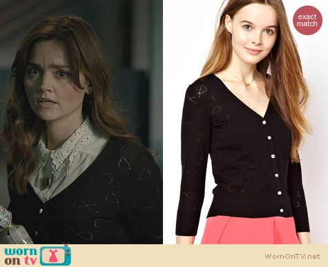 Doctor Who Christmas Fashion: Yumi Bow Pointelle Cardigan worn by Jenna Coleman