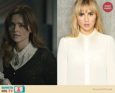 Doctor Who Fashion: Vaudville Burlesque Cream Lace Blouse worn by Clara Oswald