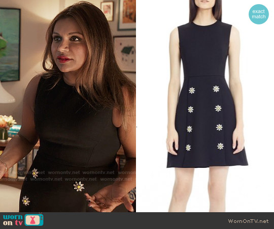 Dolce & Gabbana Daisy Crystal Button Wool Crepe Dress worn by Mindy Kaling on The Mindy Project