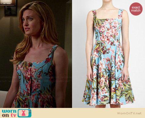 Dolce & Gabbana Embellished Floral Jacquard Dress worn by Brooke D'Orsay on Royal Pains