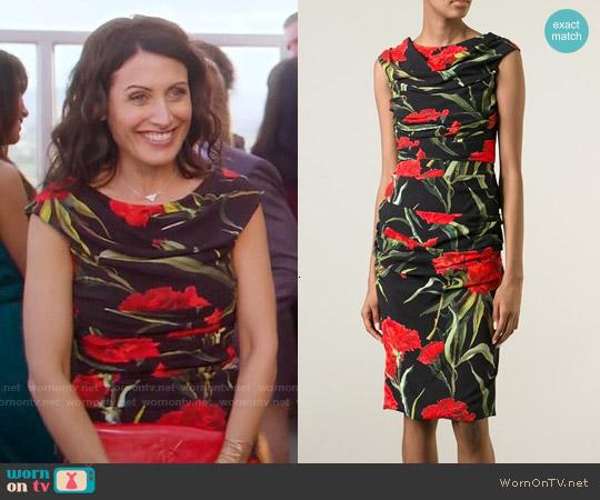 Dolce & Gabbana Carnations Print Dress worn by Lisa Edelstein on GG2D