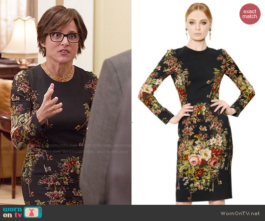 Dolce & Gabbana Floral Printed Viscose Cady Dress worn by Julia Louis-Dreyfus on Veep