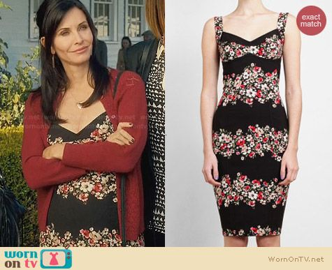 Dolce & Gabbana Floral Printed Crepe Dress worn by Courtney Cox on Cougar Town
