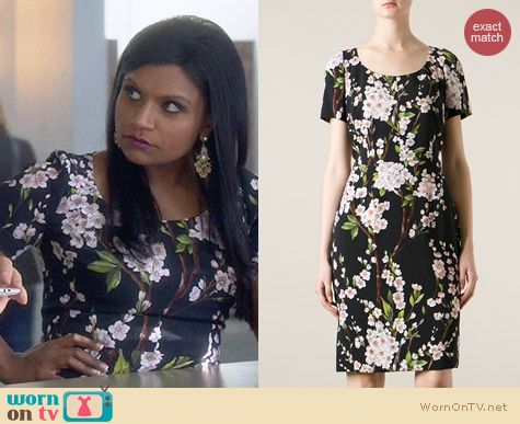 Dolce & Gabbana Floral Print Dress worn by Mindy Kaling on The Mindy Project