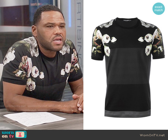 Dolce & Gabbana Floral Print Panelled T-shirt worn by Anthony Anderson on Blackish