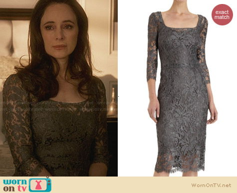 Dolce & Gabbbana Grey Lace Sheath Dress worn by Madeleine Stowe on Revenge