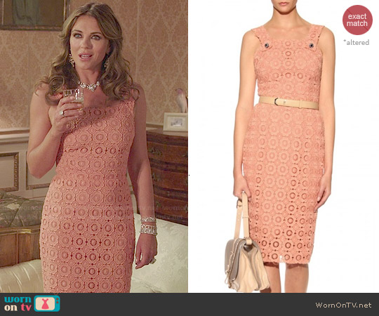 Dolce & Gabbana Lace-Crochet Jumper-Style Dress worn by Elizabeth Hurley on The Royals