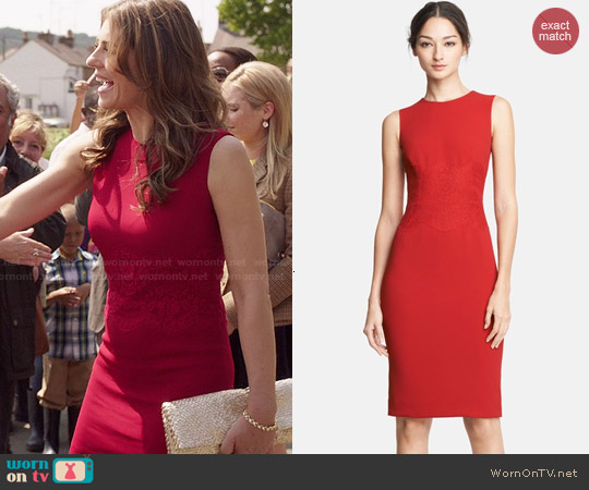 Dolce & Gabbana Lace Embellished Stretch Cady Dress worn by Elizabeth Hurley on The Royals