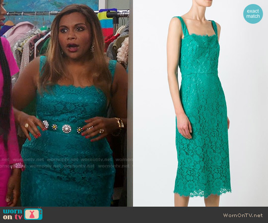 Dolce & Gabbana Floral Lace Dress worn by Mindy Kaling on The Mindy Project
