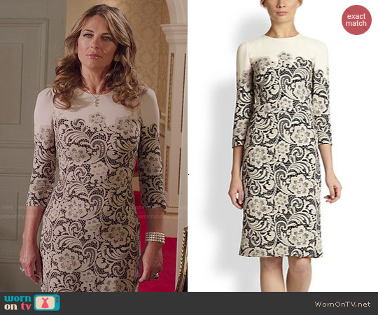 Dolce & Gabbana Lace-Printed Cady Dress worn by Elizabeth Hurley on The Royals