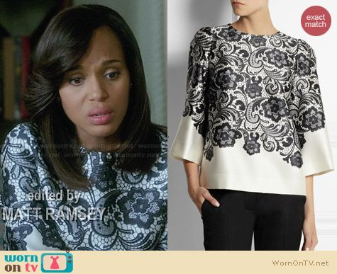 Dolce & Gabbana Lace Print Silk Satin Top worn by Kerry Washington on Scandal