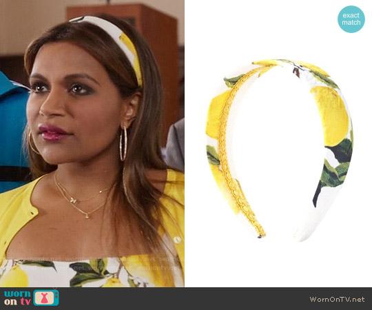 Dolce & Gabbana Lemon Print Headband worn by Mindy Lahiri on The Mindy Project