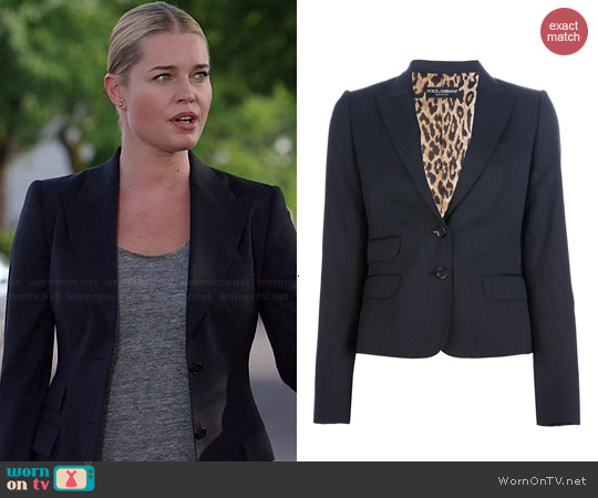 Dolce & Gabbana Pinstripe Trouser Suit worn by Rebecca Romijin on The Librarians