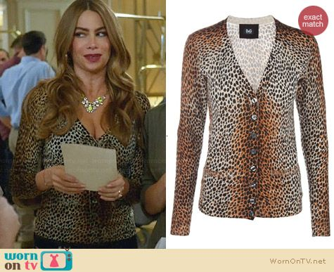 Dolce & Gabbana Leopard Print Wool Cardigan worn by Sofia Vergara on Modern Family