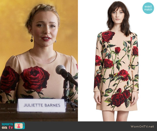 Dolce & Gabbana Rose Print Long Sleeve Cady Dress worn by Hayden Panettiere on Nashville