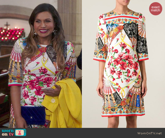 Dolce & Gabbana Sicilian folklore print dress worn by Mindy Kaling on The Mindy Project