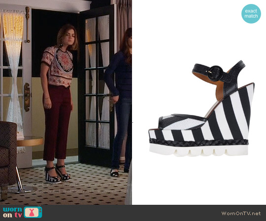 Dolce & Gabbana Striped Wedge Sandals worn by Aria Montgomery on PLL