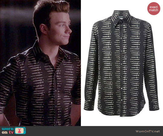 Dolce & Gabbana Swords Printed Shirt worn by Chris Colfer on Glee